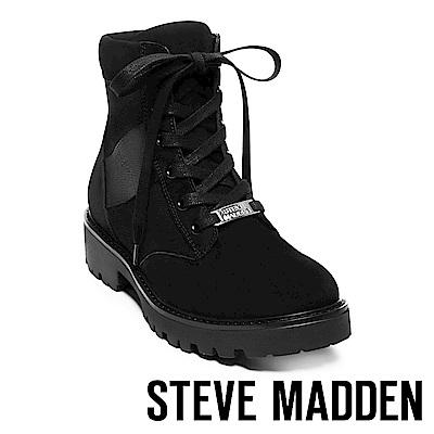 STEVE MADDEN-HANDLE 經典LOGO綁帶拼接短筒靴-黑色