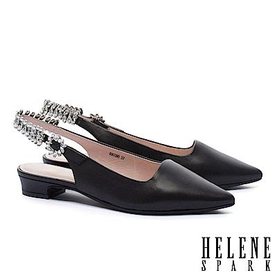 低跟鞋 HELENE SPARK 華麗晶鑽繫帶羊皮尖頭低跟鞋-黑