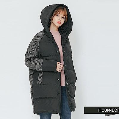 H:CONNECT韓國品牌女裝-格紋拼接長板羽絨外套-黑