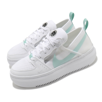 Nike 休閒鞋 Court Vision Alta 女鞋 基本款 簡約 厚底 舒適 球鞋 穿搭 白 綠 CW6536100
