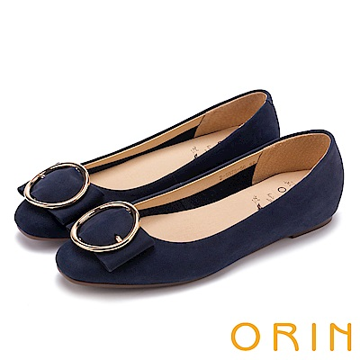 ORIN 甜美素雅 牛皮金屬圓型釦環平底娃娃鞋-藍色