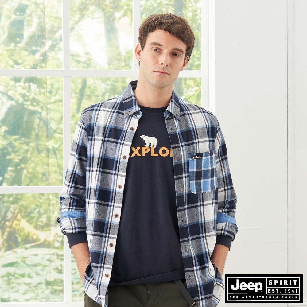 Jeep 男裝 時尚格紋休閒長袖襯衫-藍