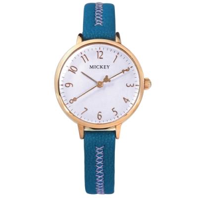Disney 迪士尼 米奇指針 兒童錶 卡通錶 真皮手錶-淺紫x玫瑰金框x藍/29mm