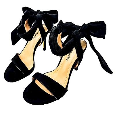 inderella Fashions小尺碼極簡性感一字繫踝綁帶中跟涼鞋-黑色