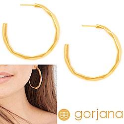 GORJANA 金色大圓耳環 C型幾何立體切割 鑲18K金 Geo Hoops