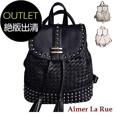 Aimer La Rue 時尚個性流蘇鉚釘編織雙肩後背包(三色)(絕版出清)