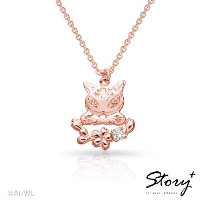 STORY故事銀飾-經典達洋貓系列-Blossom Night純銀項鍊(玫瑰金)