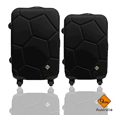 Gate9 足球系列經典二件組28吋24吋 輕硬殼旅行箱行李箱-黑色