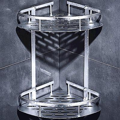 HTOP太空鋁免鑽牆 附6片無痕掛勾 雙層浴室置物架  轉角角落架 透明防水貼 免鑽孔