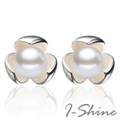 I-Shine-正白K-珍珠花語-韓國網紅氣質花朵鑲珍珠造型銀色耳針耳環DB42