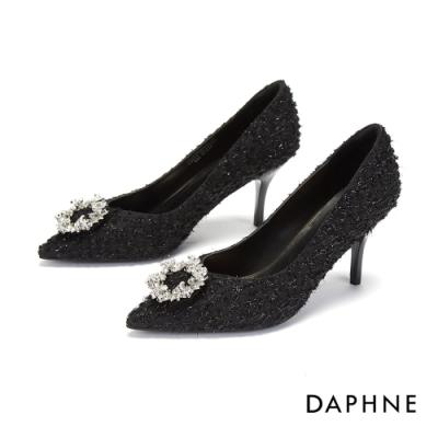 達芙妮DAPHNE 高跟鞋-優雅環形鑽飾尖頭高跟鞋-黑