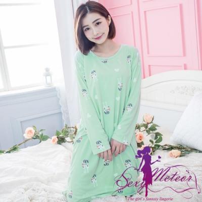 睡衣 全尺碼 牛奶絲兔子愛心前短後長長袖連身睡裙(稚氣淺綠) Sexy Meteor