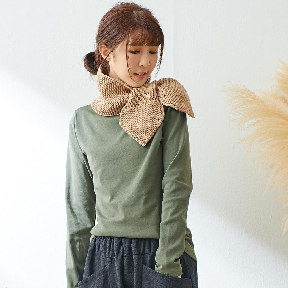 慢 生活 煙囪領內磨毛打底衫-綠/卡/杏