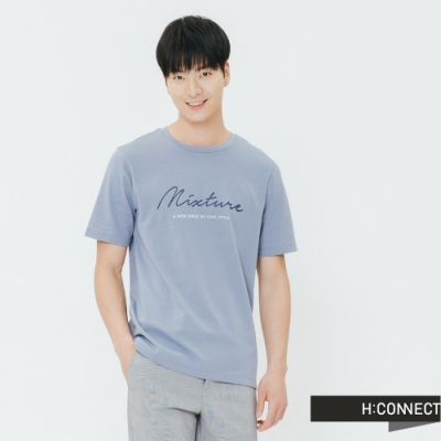 H:CONNECT 韓國品牌 男裝-草寫文字圓領T-shirt-藍