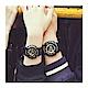 G-SHOCK-BABY-G組合狂派變形金剛重型休閒錶-多層次機械酷感女孩