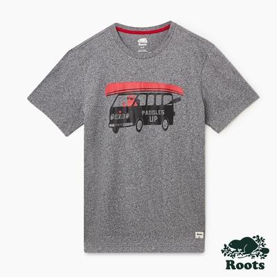 Roots 男裝- Roots海狸開車短袖T恤-灰色