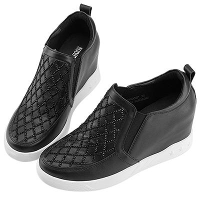 Robinlo & Co.俐落造型線條牛皮內增高休閒鞋 黑