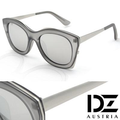 DZ 雙型層框 防曬太陽眼鏡造型墨鏡(透灰銀框水銀膜)