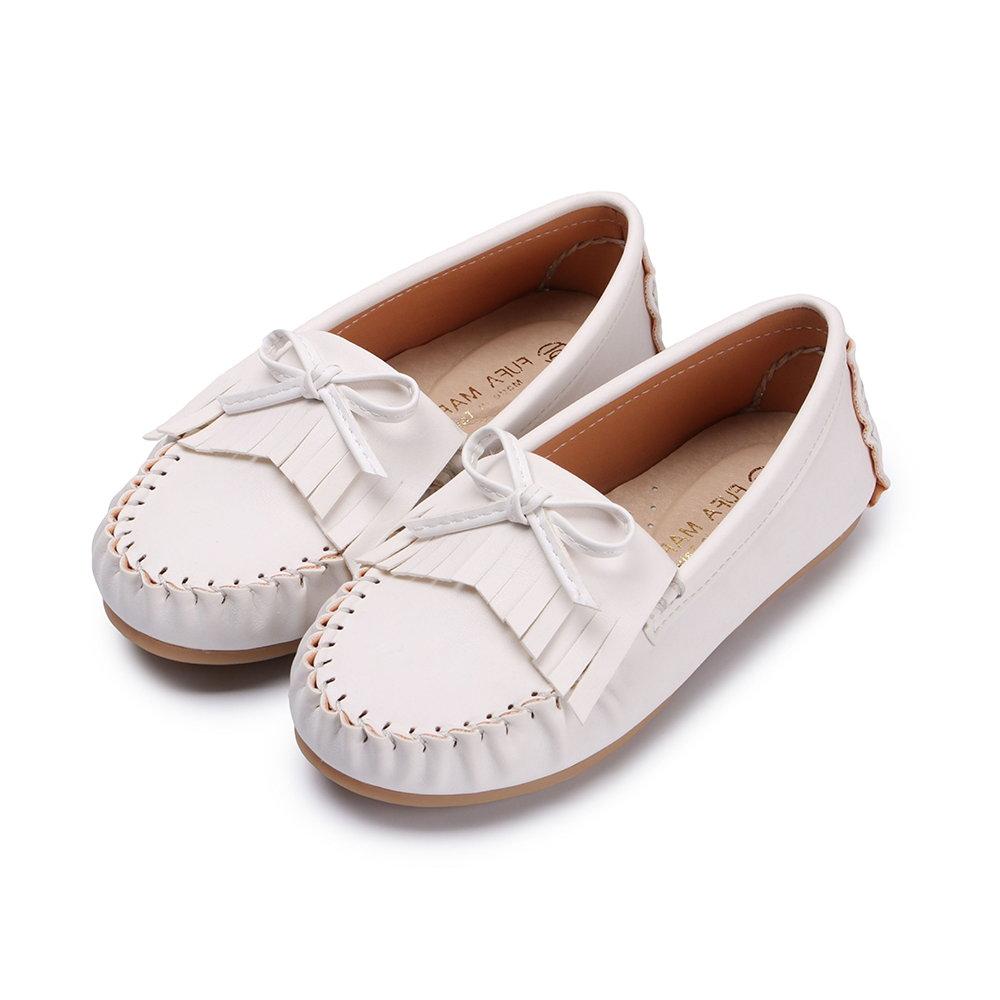 BuyGlasses 羽毛流蘇童款豆豆鞋-白
