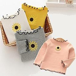小衣衫童裝   女童太陽花刺繡木耳滾邊長袖上衣1070919