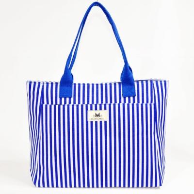 Miyo學院風條紋Tote大包(藍色)