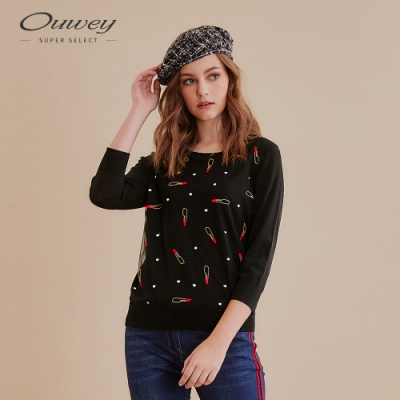 OUWEY歐薇 俏麗點點口紅刺繡針織上衣(黑)