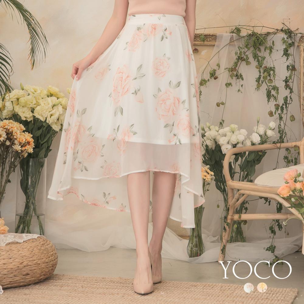 東京著衣-YOCO 清新浪漫玫瑰印花飄逸雪紡中長裙-S.M.L(共兩色)