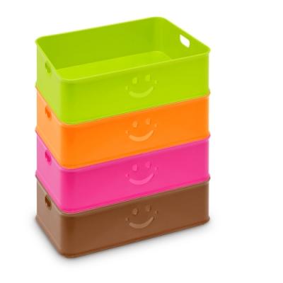 創意達人思麥爾可愛笑臉收納盒(大)-4入
