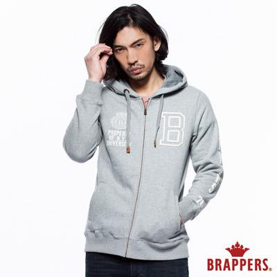 BRAPPERS 男款 貼布繡休閒版連帽外套-麻灰