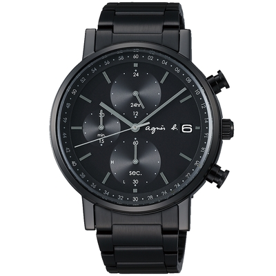 agnes b. 太陽能時尚三眼計時手錶(BZ6004P1)-黑
