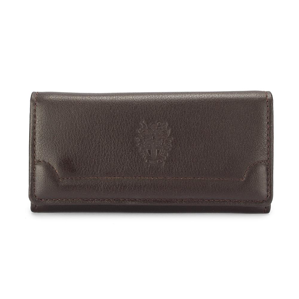 DAKS經典家徽壓紋軟皮革扣式鑰匙包-咖啡色