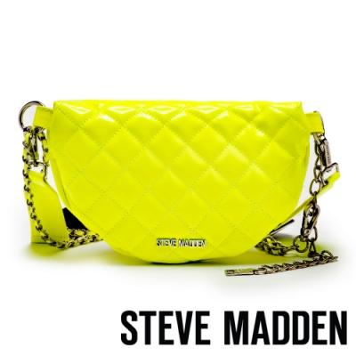 STEVE MADDEN-BCHROME 搖滾派對螢光系金屬鍊條菱格個性腰包-黃色