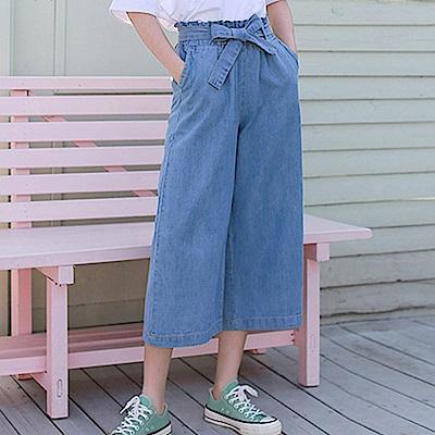 La Belleza牛仔鬆緊腰附綁帶側口袋牛仔闊腿褲寬褲
