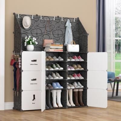 【Mr.Box】18格9門4掛 衣帽架防塵組合鞋櫃 深 32CM(黑+白款)