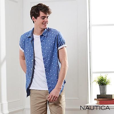 Nautica 航海圖騰修身短袖襯衫-藍色