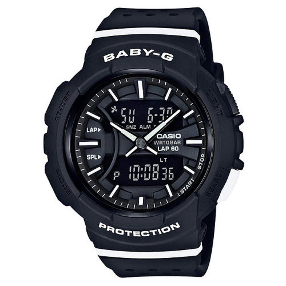 BABY-G醒目運動服飾風格慢跑系列休閒錶(BGA-240-1A1)黑X白時刻42.6mm