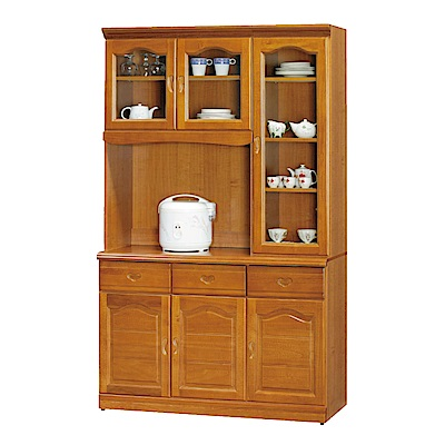 綠活居 尼圖時尚4尺實木餐櫃/收納櫃組合(上+下座)-120x42x199.5cm-免組