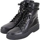 TOD'S 黑色豆豆裝飾繫帶牛皮平底短軍靴-38.5號(展示品)