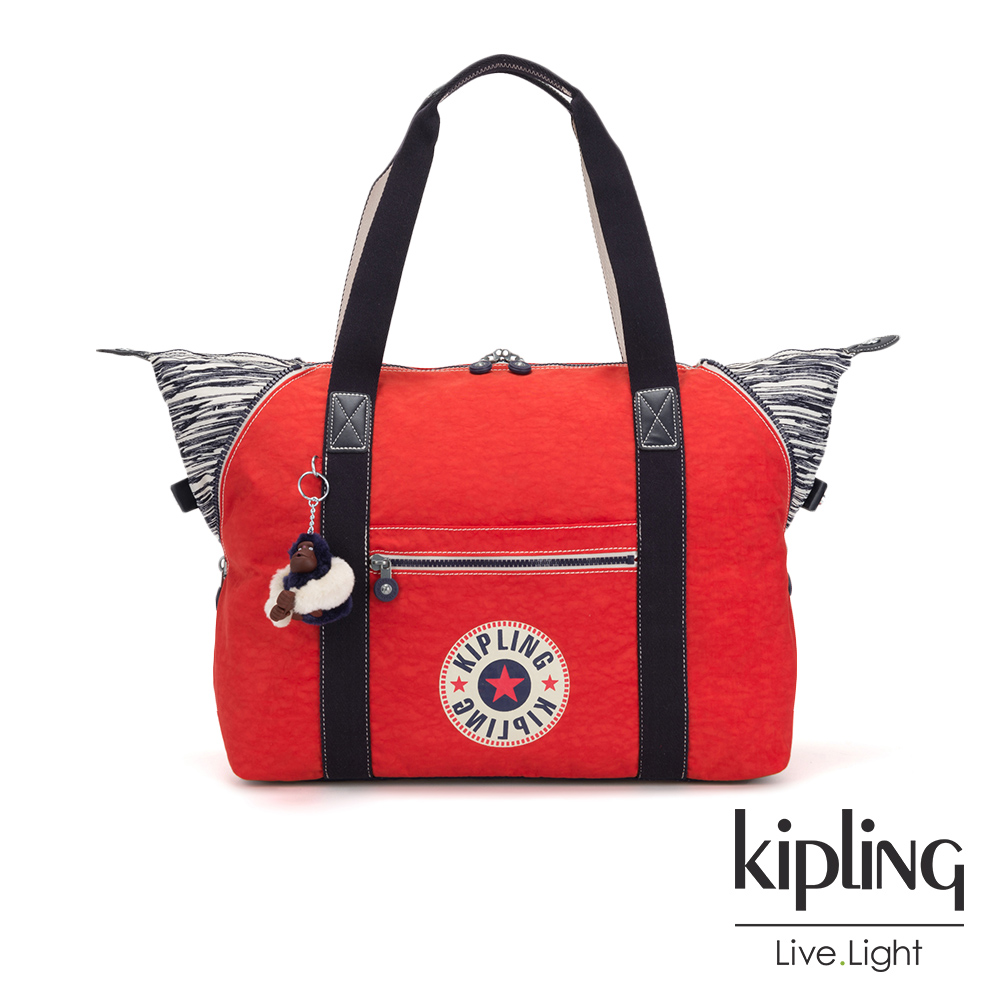 Kipling 致敬經典復古亮紅手提側背包-ART M