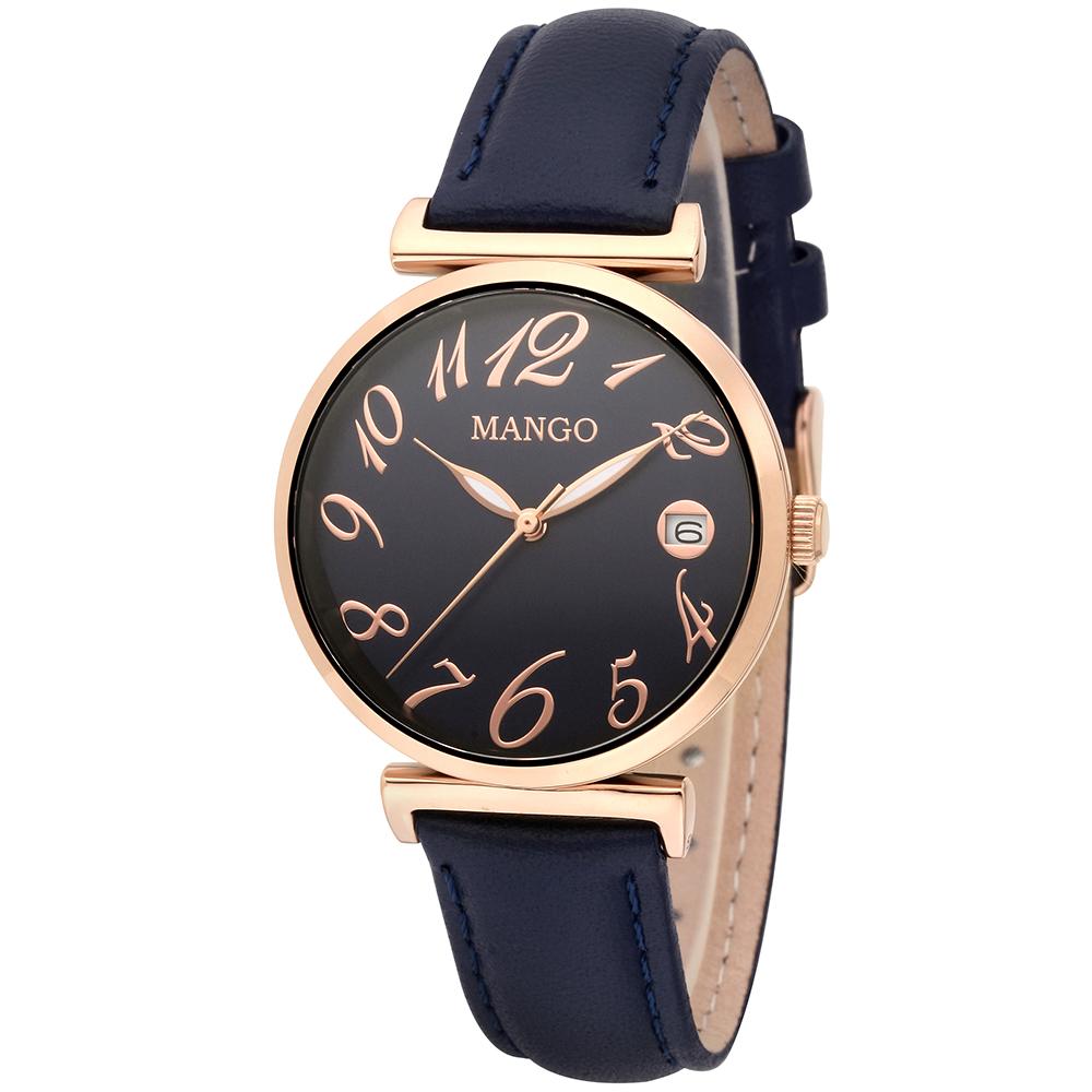 MANGO 典雅動人皮革腕錶-深藍/34mm