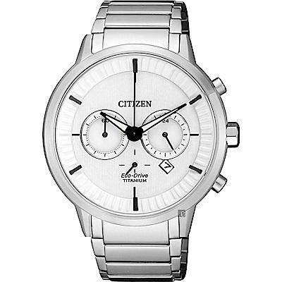 CITIZEN 星辰 光動能 鈦 簡約計時手錶-白x銀/41.5mm CA4400-88A