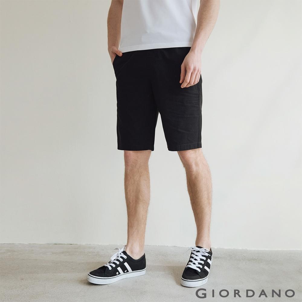 GIORDANO 男裝天然棉休閒短褲 - 09 標誌黑