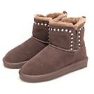 JMS-暖冬序曲-經典素面民族風鋪毛雪靴-咖啡色