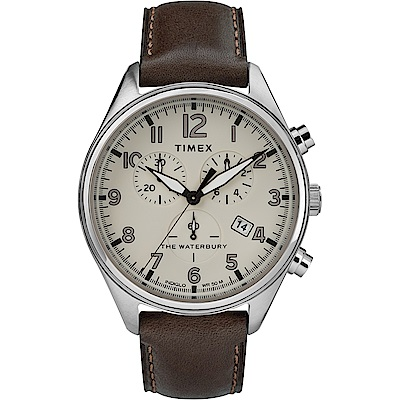 TIMEX 天美時 Waterbury Chrono系列 計時經典手錶-白x咖啡/42mm