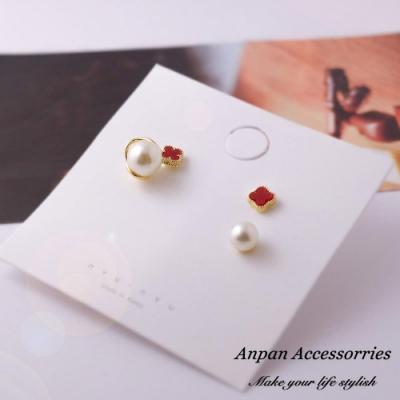 【Anpan 愛扮】韓東大門NYU花朵珍珠925銀針耳釘式耳環三件組-復古紅