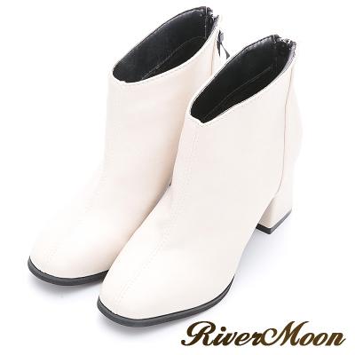 River&Moon短靴-復古方頭素面粗跟短靴-米白