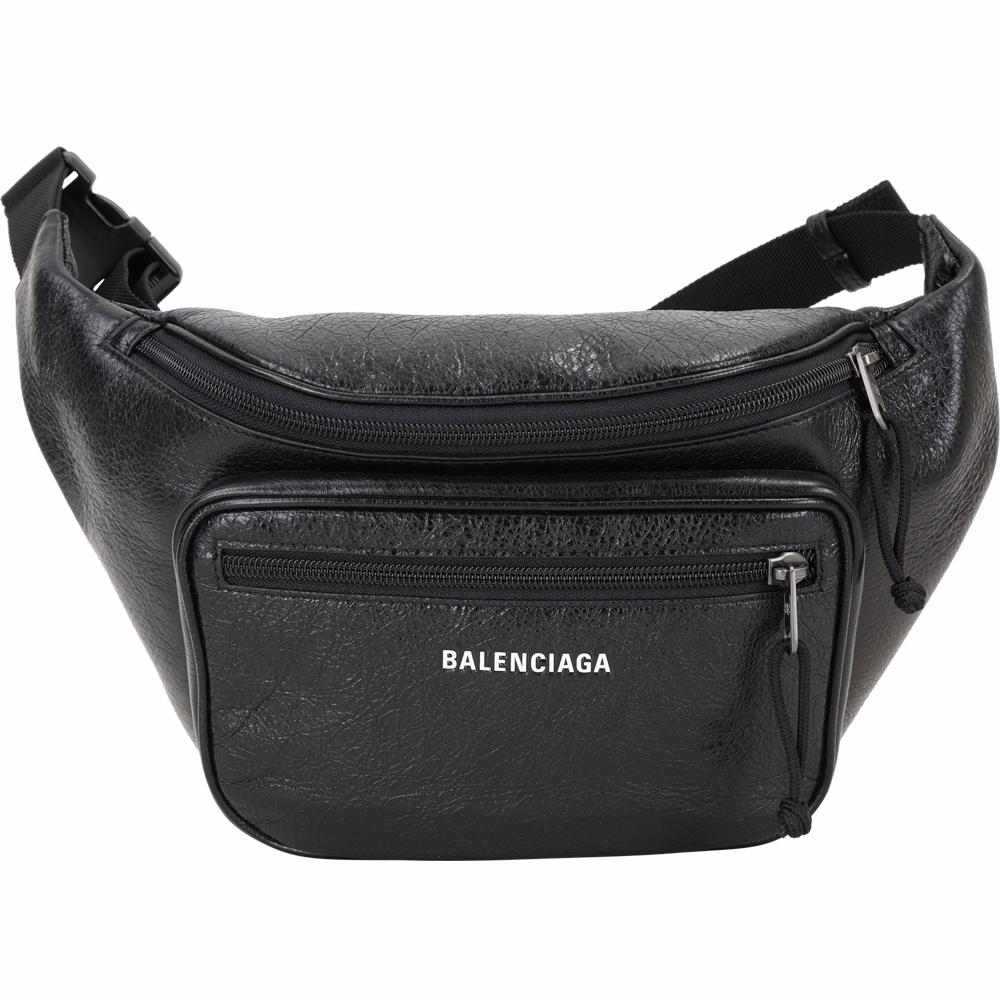 BALENCIAGA Explorer Arena  品牌字母小羊皮肩胸背/腰包(黑色)