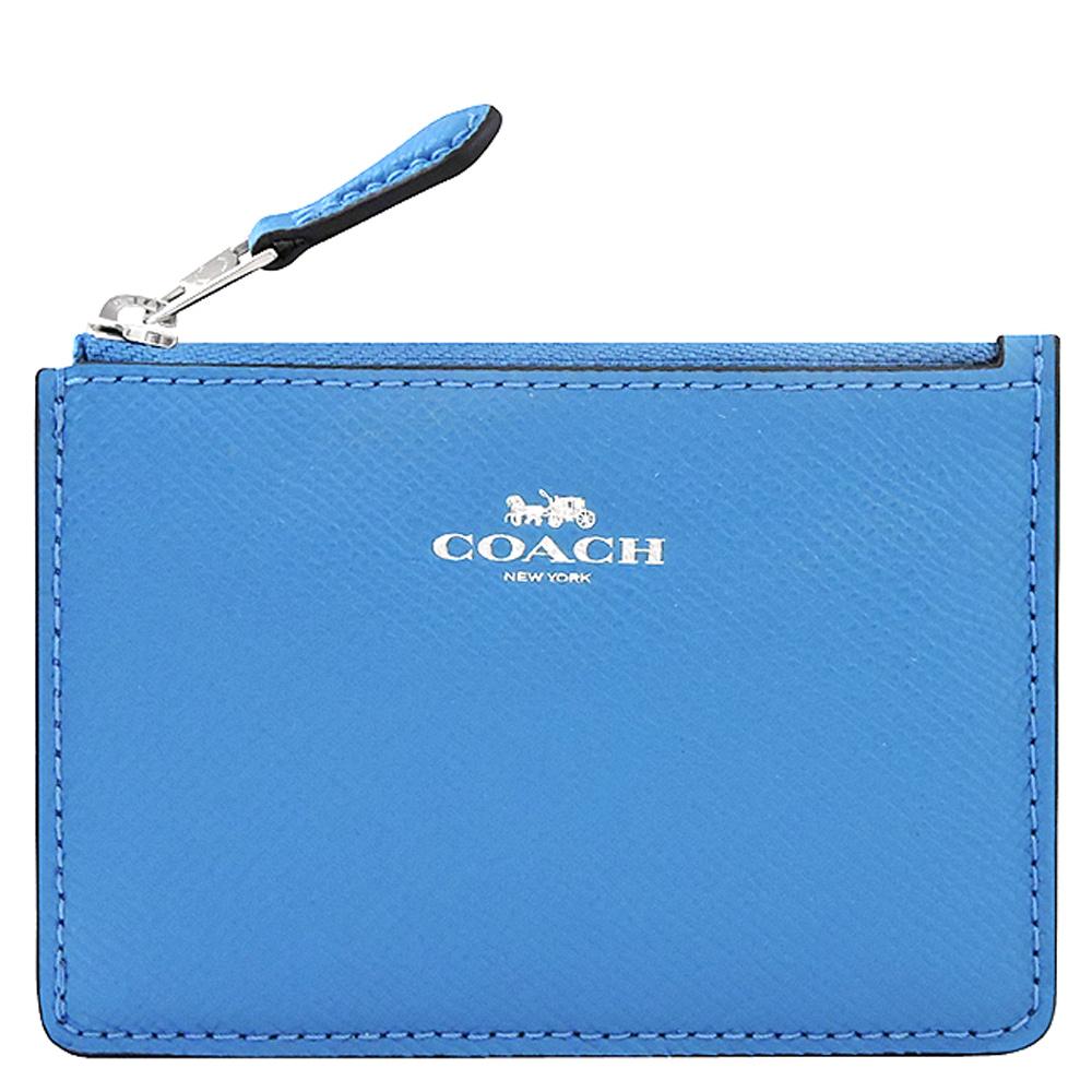 COACH 水藍色防刮皮革鑰匙零錢包COACH