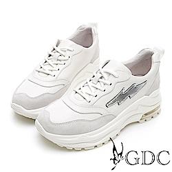 GDC-韓系青春街頭閃電厚底老爹綁帶運動真皮休閒鞋-米色