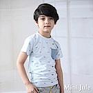 Mini Jule 上衣 滿版星星旗幟字母單口袋短袖T恤(藍)